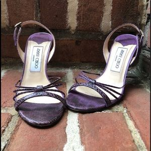 Jimmy Choo purple snakeskin slingbacks